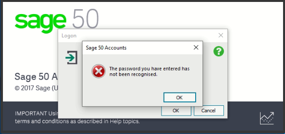 Sage 50 Login ID and Password not Working