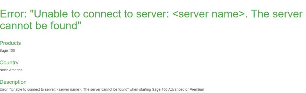 Sage 100 2019 Unable to Connect to Server