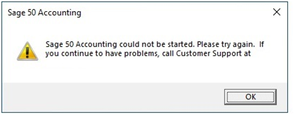 """Sage 50 cannot be started"""" when Actian / Pervasive is Not Running or Needs to be Restarted"""
