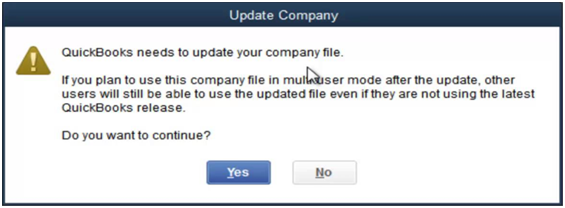 QuickBooks Company File Needs to be Updated