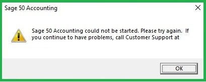 Sage 50 Cannot be Started After 2022 Update